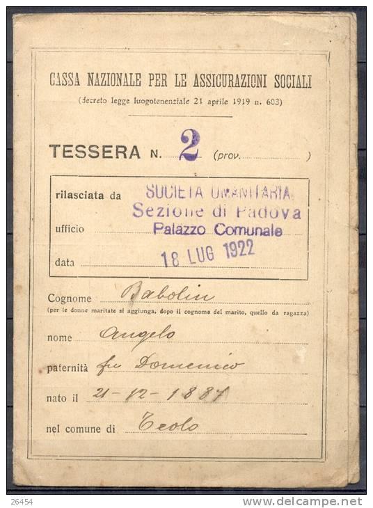 CARTE   Cassa Nazionale Per Le Assicurazioni  SOCIALI Le 18 LUG 1922  Avec  26  VIGNETTES   Peu Commun - Vecchi Documenti