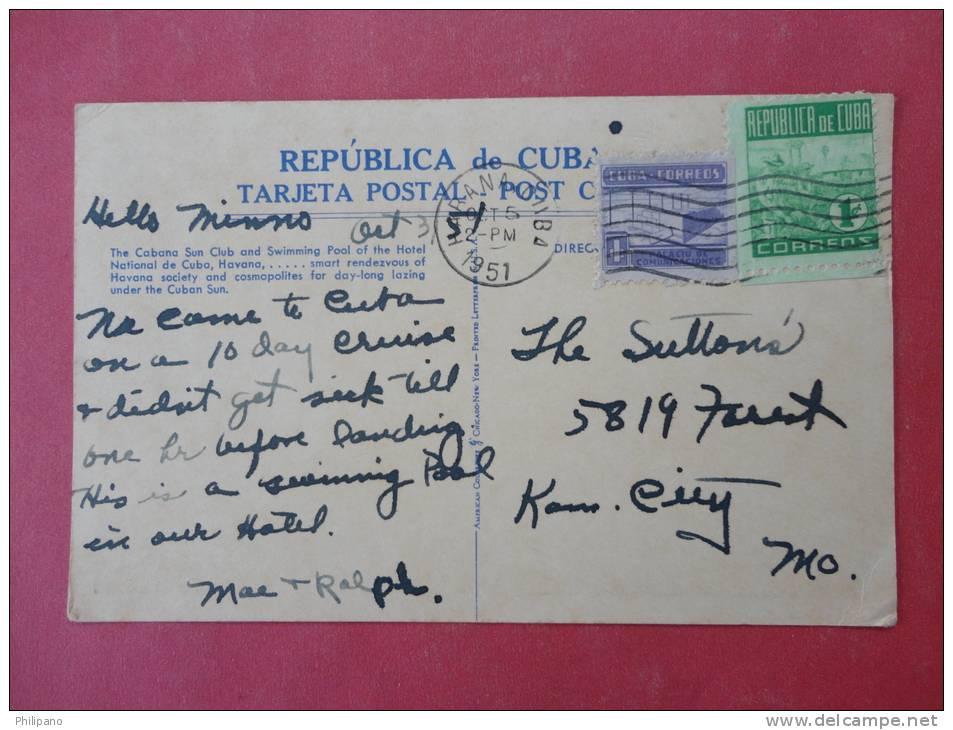 Cuba  The Cabana Sun Club  1951 Cancel---ref 933 - Cuba