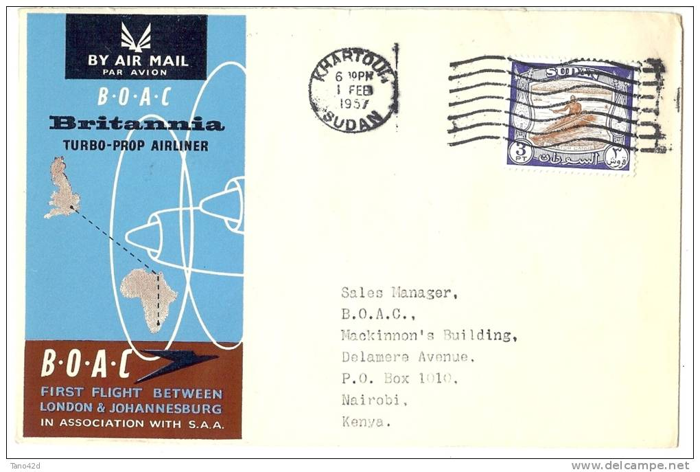 LANV6 - 1er VOL PAR TURBOPROPULSEUR LONDON / JOHANNESBOURG ESCALE KHARTOUM 1/2/1957 ARRIVEE NAIROBI 2/2/1957 - Soudan (1954-...)