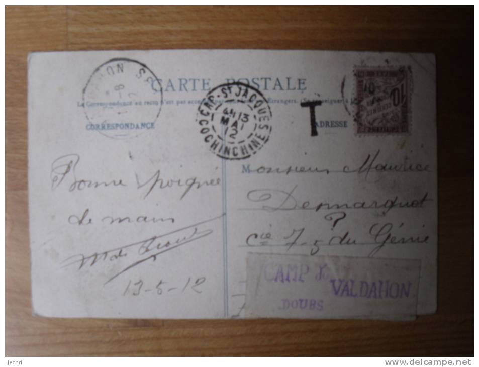 COCHINCHINE CHOLON CULTURE DU RIZ LE REPIQUAGE  ETIQUETTE CAMP DU VALDAHON - Cartes Postales