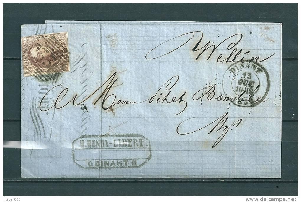 Nr 10 Gestempeld P33 Op Brief Van Dinant Naar Wellin  13/10/1858 (GA9076) - 1858-1862 Médaillons (9/12)