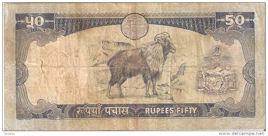 BILLETE DE NEPAL DE 50 RUPIAS. (BANKNOTE) CABRA - Nepal