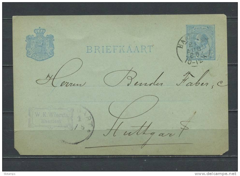 Netherlands 1886 Postal Stationary Card  (Briefkaart) - Postal Stationery