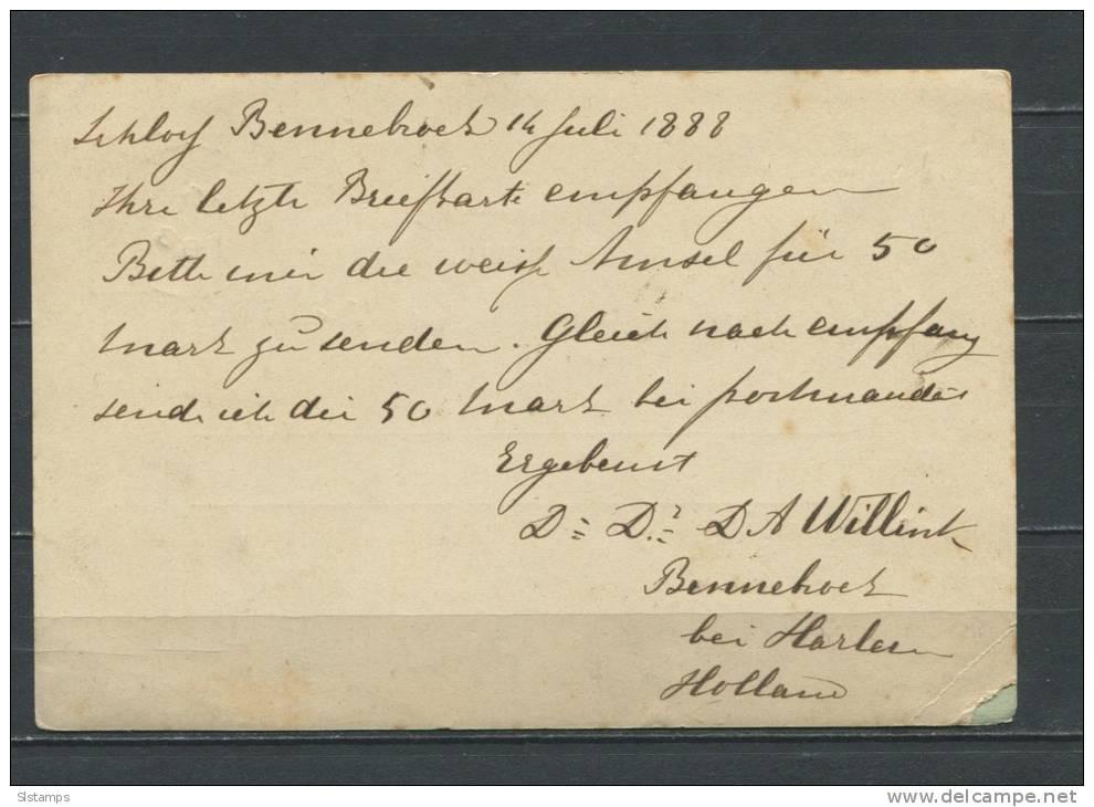 Netherlands 1888 Postal Stationary Card  (Briefkaart) - Postal Stationery