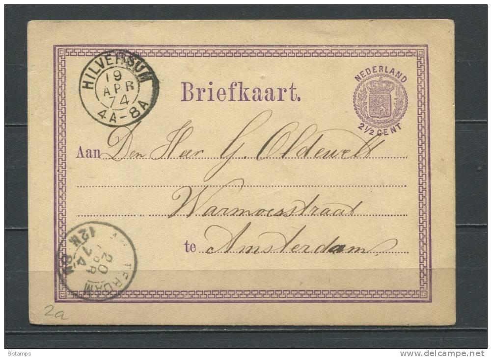 Netherlands 1874 Postal Stationary Card  (Briefkaart) To Amsterdsm - Postal Stationery