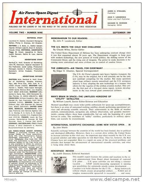 Air Force / Space Digest - INTERNATIONAL - SEPTEMB 1966  - Pentagon - Avions - Fusées - Espace -  (3295) - English