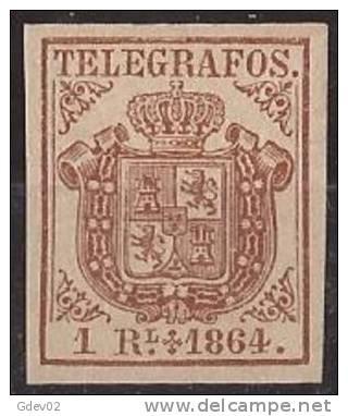 ESTGF1-L2151TSC.Espagne. Spain.ESCUDO DE ESPAÑA.TELEGRAFOS  DE ESPAÑA .1864 (Ed 1*)  MAGNIFICO.Certificado. - Sin Clasificación
