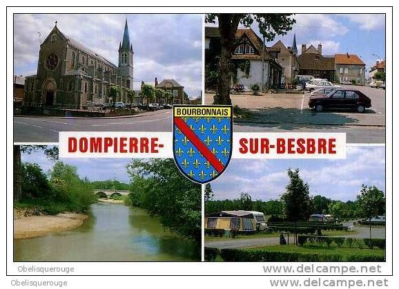 03 DOMPIERRE SUR BESBRE 4 VUES/1 CARTE VOITURE RENAULT CAMPING BLASON - France