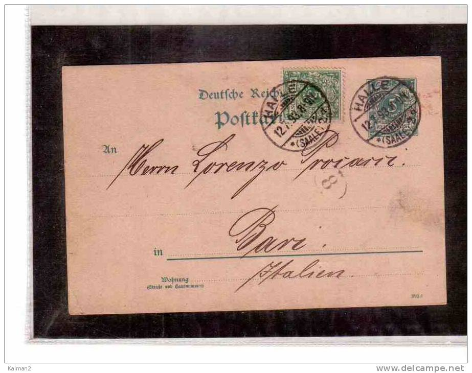 DE218  -   GERMANIA STORIA POSTALE   -   POSTKARTE       HALLE/BARI        12.7.1893 - Entiers Postaux