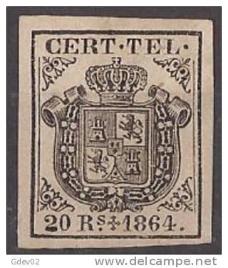 ESTGF4-L2154TESS.Espagne . Spain.ESCUDO DE ESPAÑA.TELEGRAFOS  DE ESPAÑA .1864 (Ed 4*)  MAGNIFICO.Certificado. - Sellos