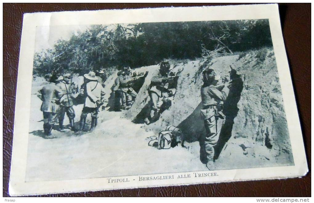 GUERRA ITALO-TURCA LIBIA  FOTO EX LIBRO 1911 -12-TRIPOLI BERSAGLIERI IN TRINCEA - Oorlog, Militair