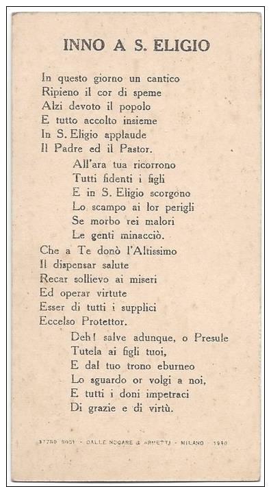 Santino: Santo Eligio Che Si Venera Nella Reale Chiesa Omonima Al Mercato - Napoli - Devotieprenten