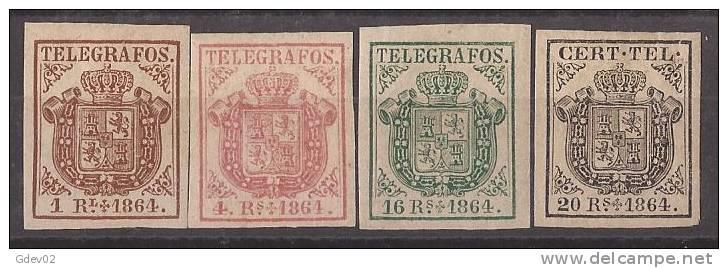 ESTGF1-L2152TAN.Espagne. Spain.ESCUDO DE ESPAÑA.TELEGRAFOS  DE ESPAÑA .1864 (Ed 1/4*)  MAGNIFICO. - Nuevos