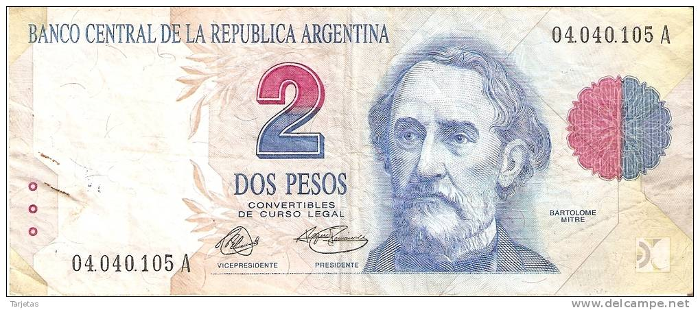 BILLETE DE ARGENTINA DE 2 PESOS CONVERTIBLES - BARTOLOME MITRE (BANKNOTE) - Argentina