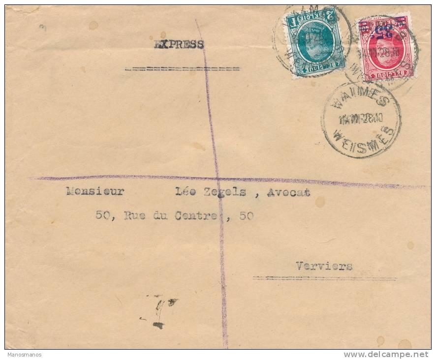 """022/21 -- CANTONS DE L""""EST - Lettre EXPRES TP Houyoux WAIMES WEISMES 1928 Vers VERVIERS Télégraphique - 1922-1927 Houyoux"""