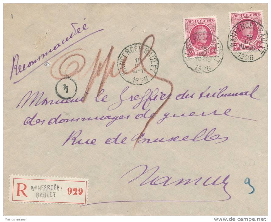 044/21 -- Lettre Recommandée TP Houyoux 40 C X 2 (Aff. Rare) WANFERCEE BAULET 1926 Vers NAMUR - 1922-1927 Houyoux
