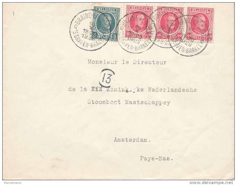 046/21 -- Lettre Bande De 3 TP Houyoux 40 C + 1 TP 5 C BRAINE LE COMTE 1926 Vers AMSTERDAM - TARIF PREFERENTIEL 1 F 25 - 1922-1927 Houyoux