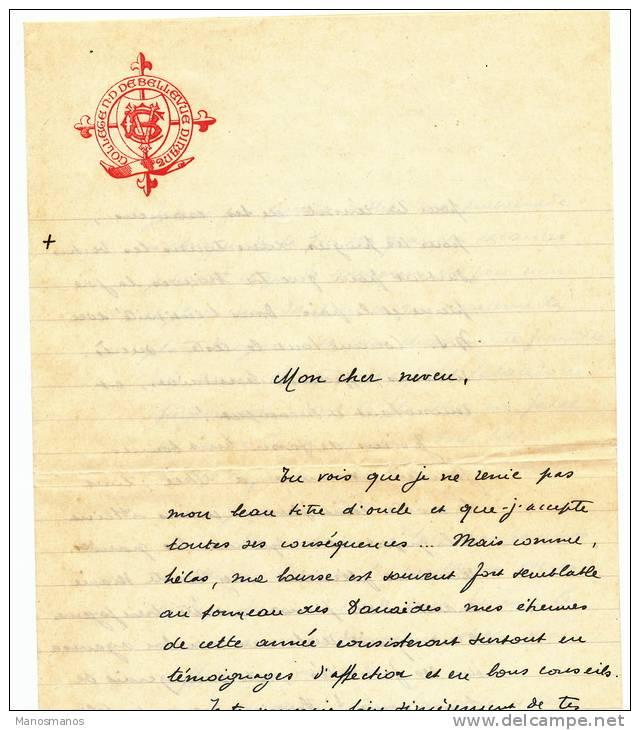 047/21 -- Lettre Bande De 3 TP Houyoux 50 C DINANT 1927 Vers ANZIN France - Entete Et Lettre Collège N.D. De Bellevue - 1922-1927 Houyoux