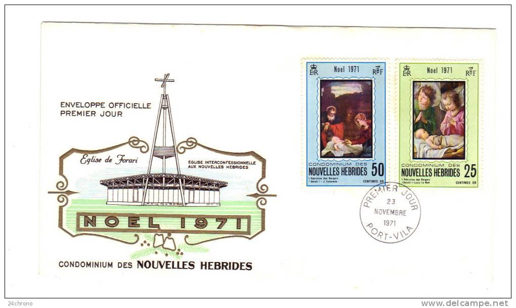 Premier Jour D´ Emission, FDC: Nouvelles Hebrides, Port Vila, Condominium Eglise Interconfessionnelle Noel 1971 23-11-71 - FDC