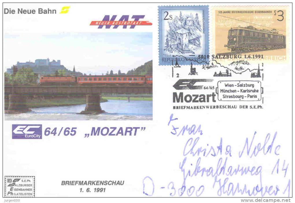 """Rep. Osterreich - Die Neue Bahn - EuroCity 64/65 """"Mozart"""" - Salzburg 1/6/1991( RM0938) - Eisenbahnen"""