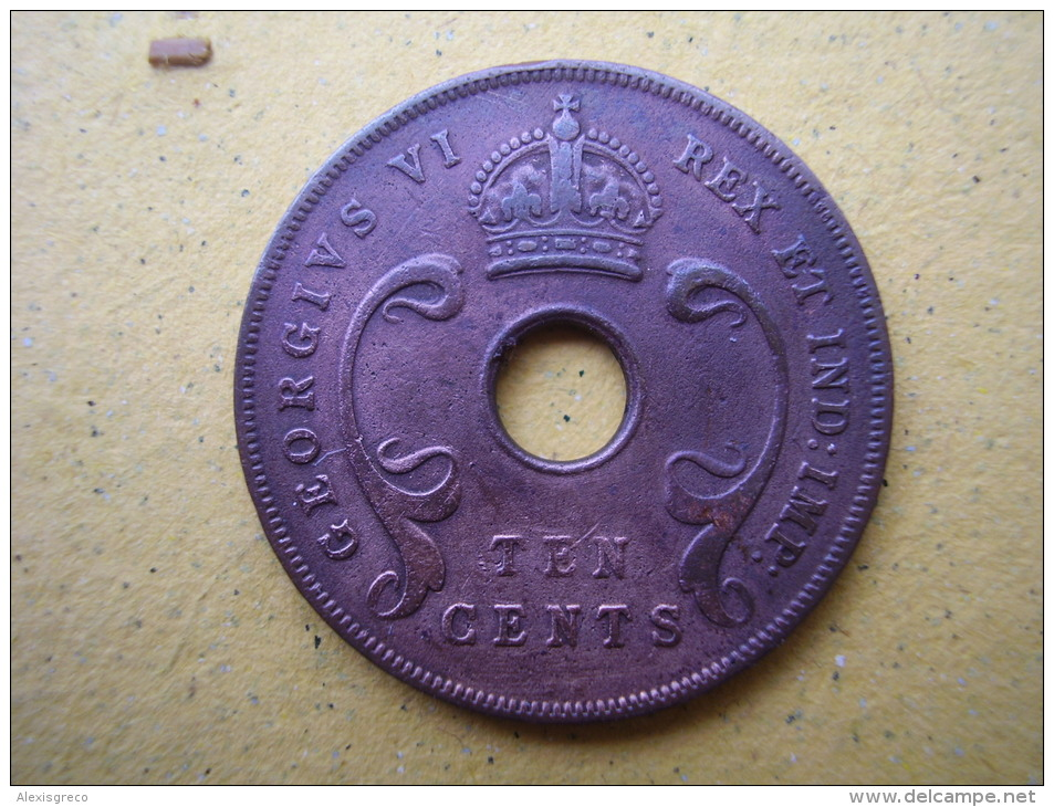 BRITISH EAST AFRICA USED TEN CENT COIN BRONZE Of 1937KN  - GEORGE VI. - British Colony