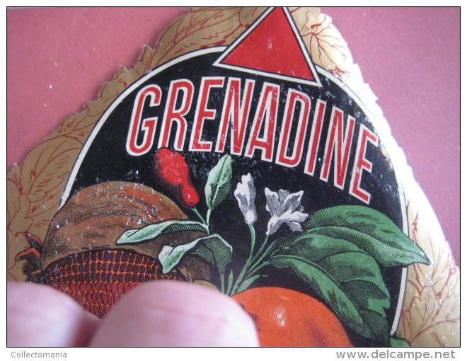 1 ETIQUETTE LITHO Parafiné  - GRENADINE , Fruit Superbe -  IMPRIMEUR Romain & Palyart Paris - Leaves