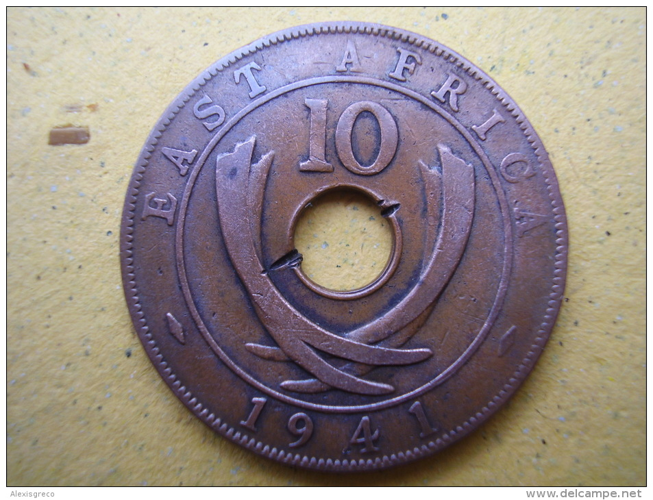 BRITISH EAST AFRICA USED TEN CENT COIN BRONZE Of 1941 - GEORGE VI. - British Colony