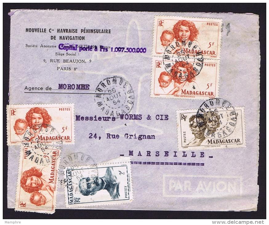1954  Lettre Avion De Morombe  Pour La France  Bloc De 6 Yv 313, Affranchissement Composé - Lettres & Documents