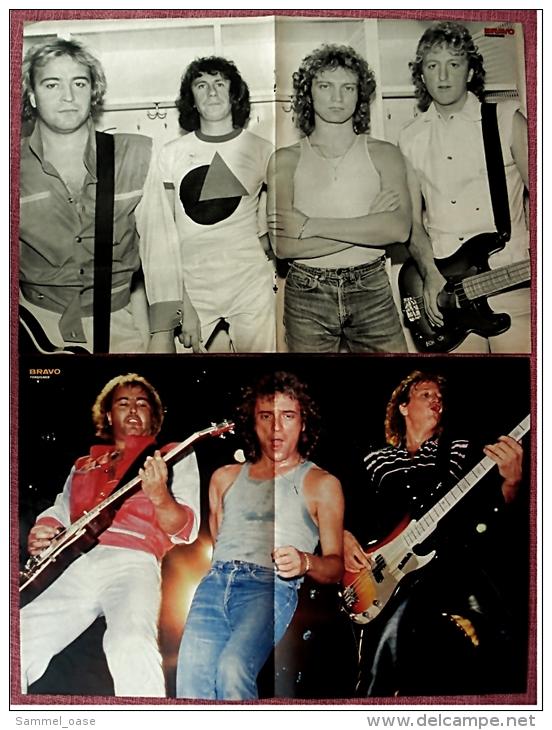 2 Kleine Musik Poster  Gruppe Foreigner  - 1 Rückseite Martin Shaw  -  Von Bravo Ca. 1982 - Plakate & Poster
