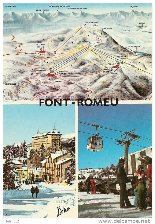 FONT ROMEU (Pyr.-Or. 66) Station De Ski  Plan Des Pistes Téléphérique (RARE Animée écrite 1991 Voir Détails 2scan) MW345 - Autres Communes