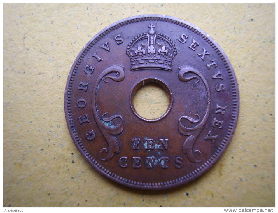 BRITISH EAST AFRICA USED TEN CENT COIN BRONZE Of 1950 - George VI. - British Colony