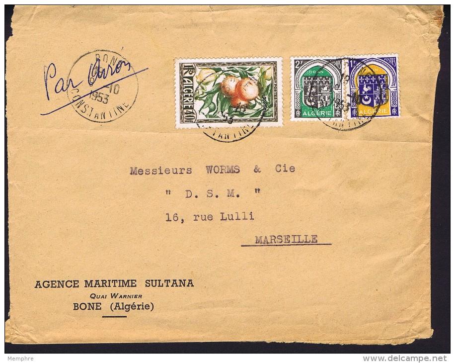 1953 Devant D Lettre Avion   De Bone Pour La France   Oranges Et Citrons  Yv 281, Blasons - Algeria (1924-1962)