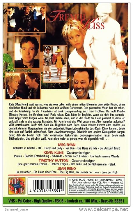 VHS Video Komödie,  French Kiss   -  Mann Weg , Koffer Weg....und Ganz Paris Träumt Von Der Liebe   -  Von 1995 - Romantique