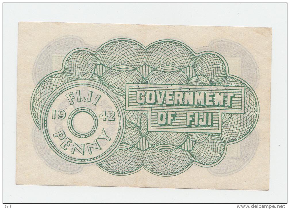 Fiji 1 Penny 1942 XF+ CRISP Banknote P 47 - Fidji