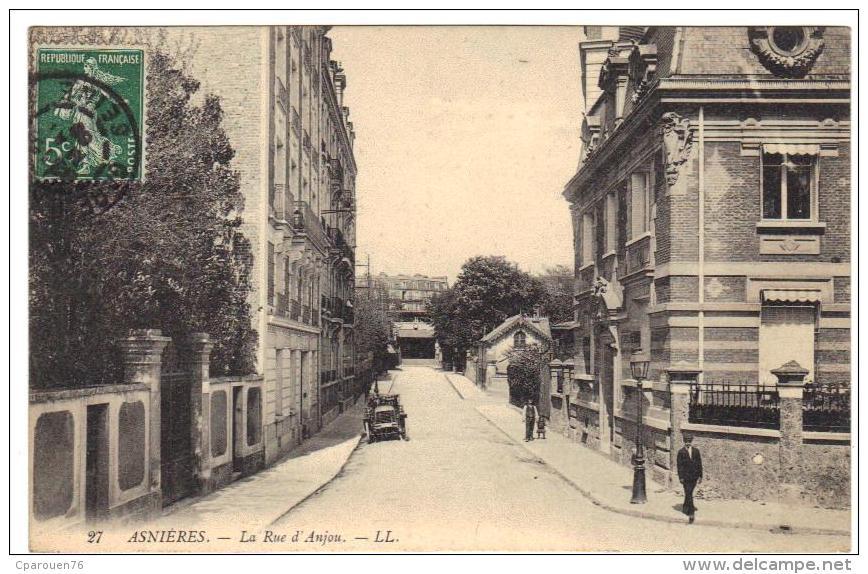 Asnières La Rue D´Anjou  Cpa Animée  92 Hauts  De Seine Région Parisienne - Asnieres Sur Seine