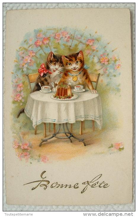 Deux Chats à Table Prenant Le Café - Bonne Fete - Chats