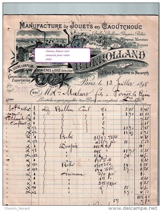 Belle Entête Du 12/07/1898 DEROLLAND Jouets En Caoutchouc - Paris - Asniières-sur-Oise - France