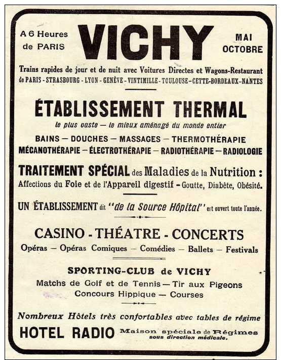 Publicité émanant De La Revue L´Illustration Des Années 1920:  VICHY établissement Thermal. - Publicités