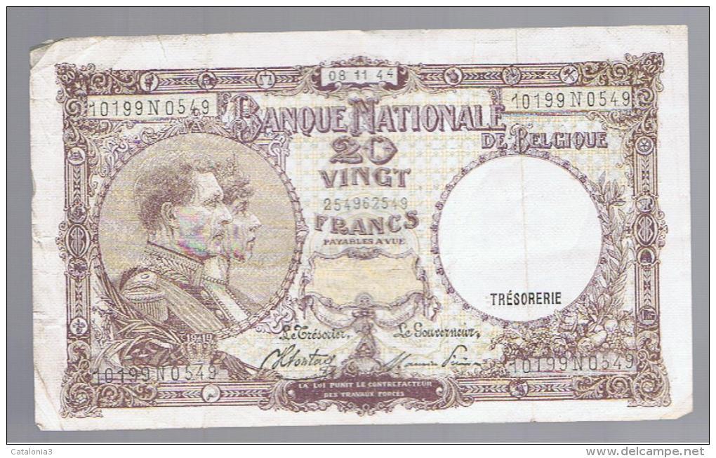 BELGICA -  20 Francs  3/01/44  P-111 - Bélgica