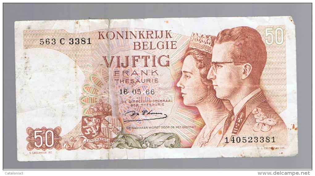 BELGICA -  50 Francs  1966 Rotura   P-139 - A Identificar