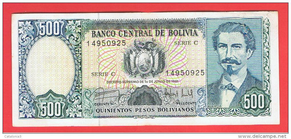 BOLIVIA - 500 Pesos Bolivianos 1981  P-166 Serie C - Bolivia