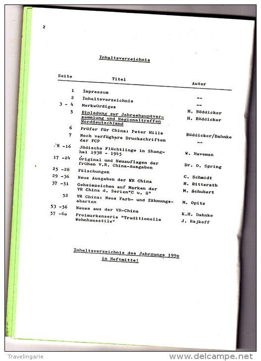 Die China-Philatelie   Nr. 89 1991 - Non Classés