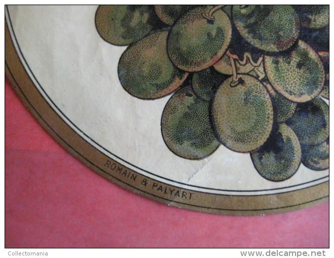 1  XIX Ième Etique  Parafiné Magnifique - VERJUS  1ier CHOIX - FEUILLES RAISINS  - IMP.  ROMAIN & PALYART - Leaves