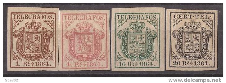 ESTGF1-L2152.Espagne. Spain.ESCUDO DE ESPAÑA.TELEGRAFOS  DE ESPAÑA .1864 (Ed 1/4*)  MAGNIFICO. - Telegramas