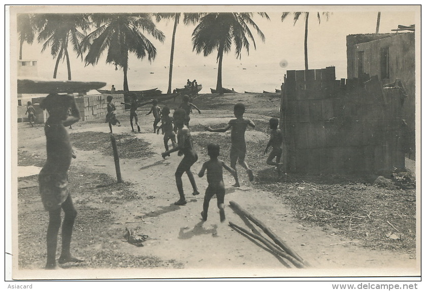 Set Of 2 Real Photo Dancers Band And  Children Playing On Beach - Gambie
