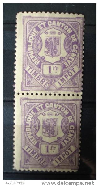 Republique Et Canton De Geneve,Timbre Impot,pair/paartje - Fiscale Zegels