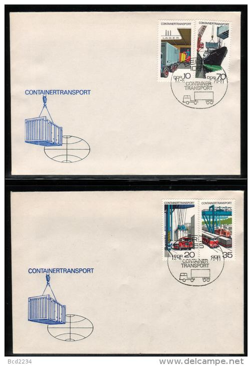EAST GERMANY DDR 1978 SPECIAL RAILWAYS SHIPS CONTAINER TRANSPORT TRAINS ITEM AND CANCEL Locomotives Engines - Schiffe