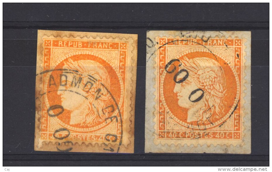 France  :  Yv  38  (o)  2 Oblitérations étrangères - 1870 Siège De Paris