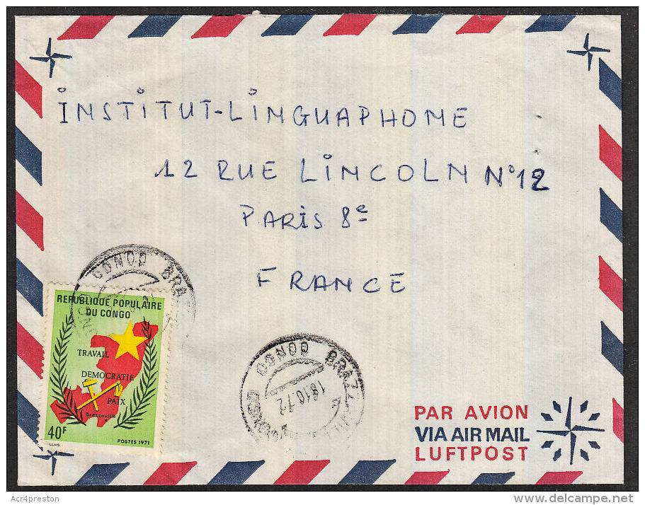B0033 CONGO (Brazzaville) 1972, Cover Brazzaville To France - Used
