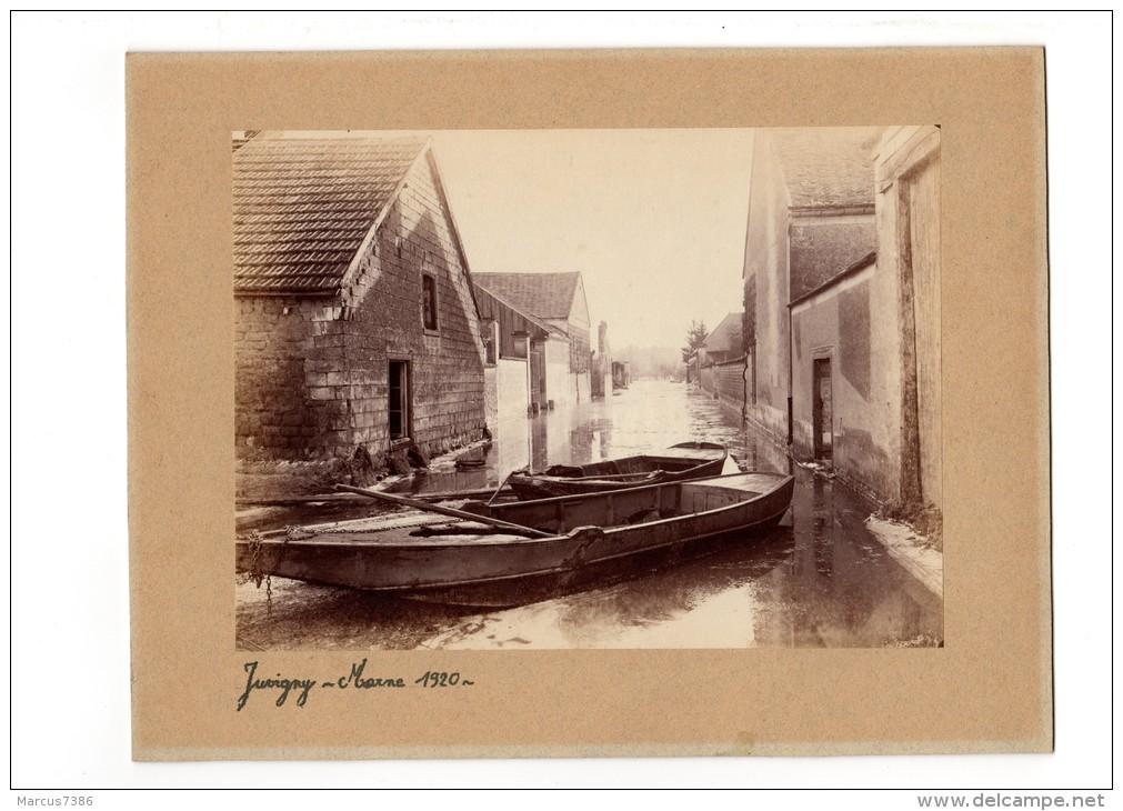 JUVIGNY  MARNE 51  Tirage Original 1920 INONDATION Barques Rue Inondée Grand Format  24cm X 17cm RARE PHOTO - Lieux